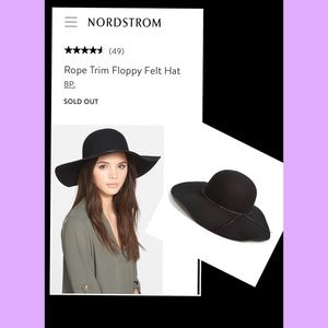 🖤 Nordstrom BP Rope Trim Floppy Felt Hat 🖤